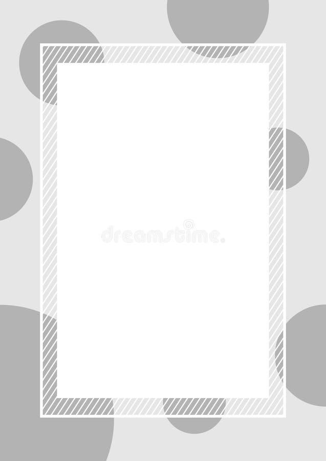 Le fond gris vide de rectangle de couleurs de point de polka de cadre de banni illustration de vecteur