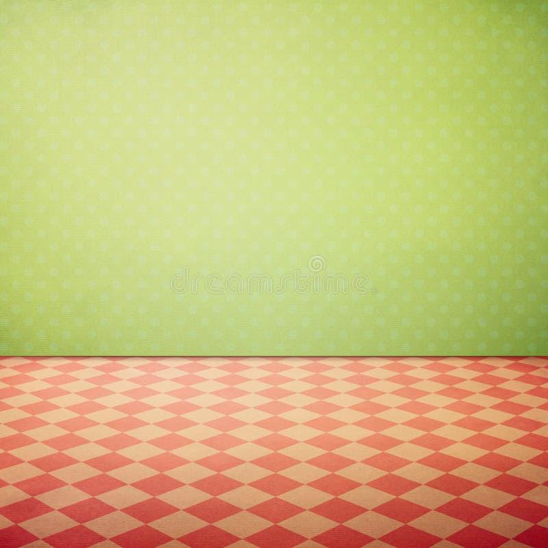 Le fond grunge intérieur de vintage avec les points roses vérifiés de plancher et de polka wallpaper illustration libre de droits
