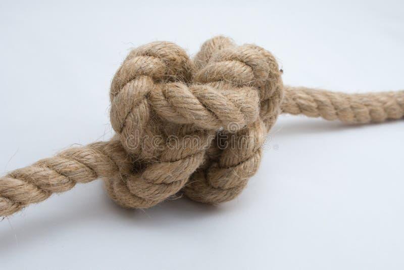 le fond a isolé la corde de noeud attachée vers le haut du blanc photo stock