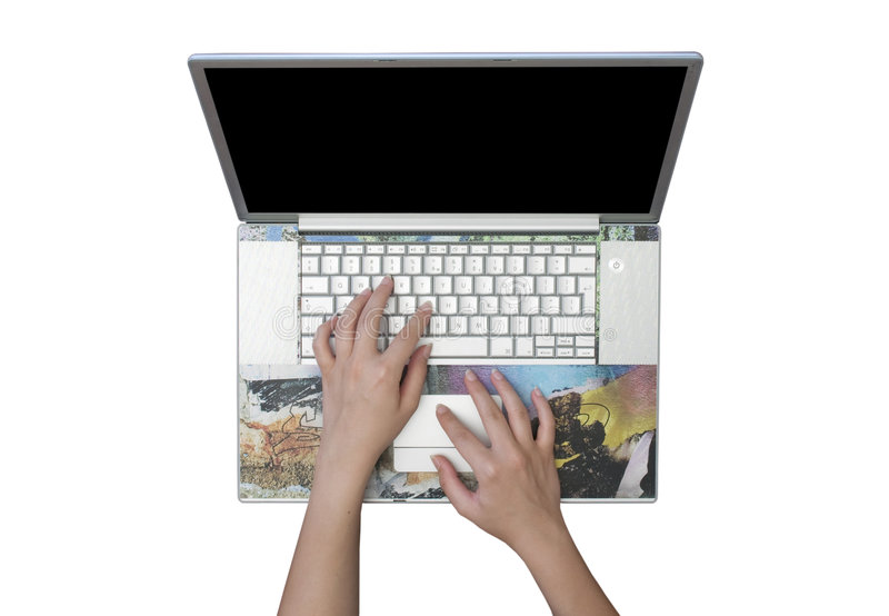 le fond a isolé le blanc argenté d'ordinateur portatif photographie stock libre de droits