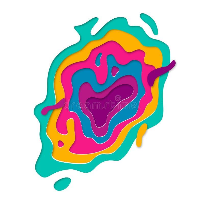 Le fond multi d'effet de texture de couches de couleur de Papercut du papier 3D a coupé le vecteur illustration libre de droits