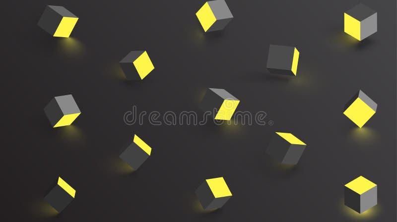 Le fond noir avec 3d géométrique jaune cube le modèle illustration de vecteur
