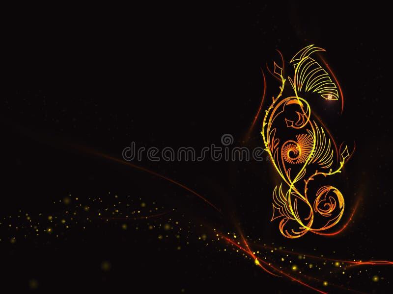Le fond noir dans les couleurs de la flamme avec l'ornement floral et l'or abstraits raye et se tient le premier rôle illustration stock