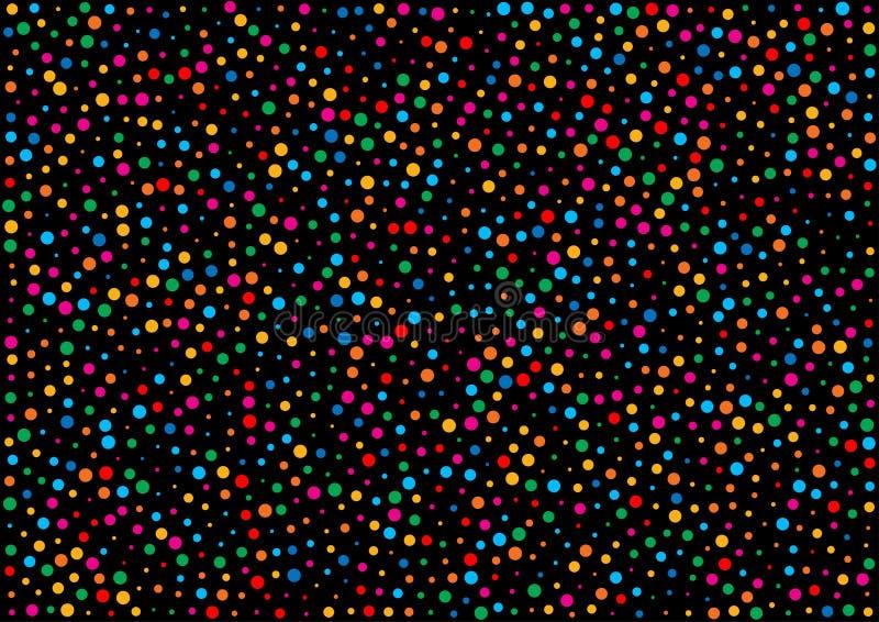 Le fond noir horizontal de vacances avec l'arc-en-ciel coloré colore la texture de papier de modèle de confettis illustration libre de droits
