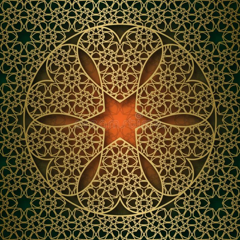 Le fond ornemental traditionnel avec les six coeurs ronds forment le cadre illustration libre de droits