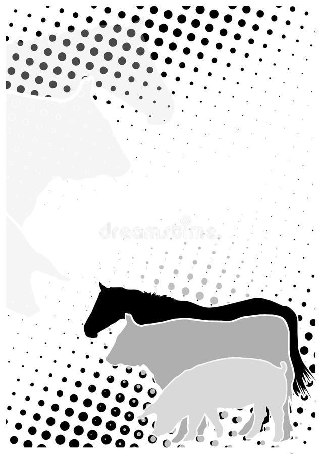 le fond pointille l'affiche de bétail illustration stock