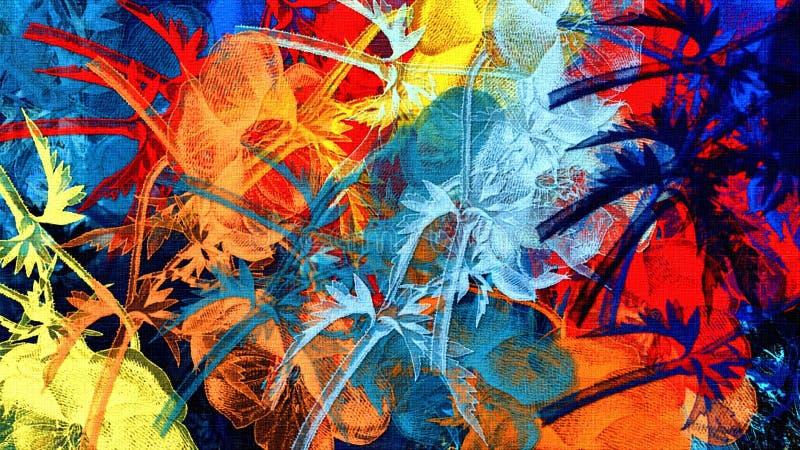 Le fond psychédélique coloré par résumé avec des courses de brosse donnent aux autocollants une consistance rugueuse floraux de f illustration de vecteur