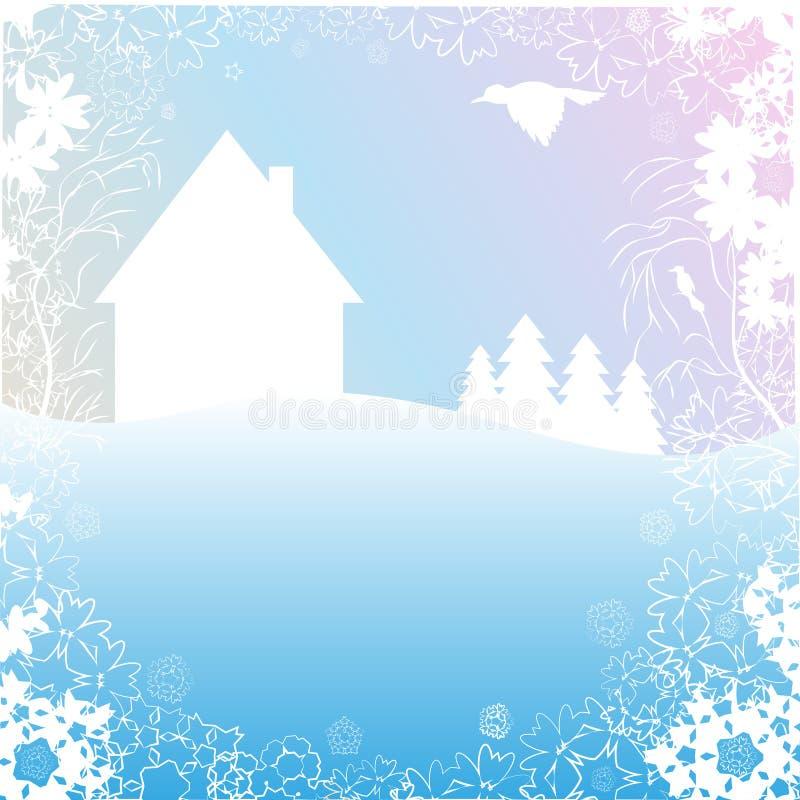 Le fond représente l'hiver ou le matin de ressort Paysage illustration de vecteur