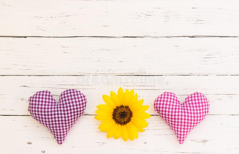 Le fond romantique d'amour, deux a vérifié des coeurs de tissu avec la fleur de tournesol sur le bois blanc avec l'espace de copi images libres de droits