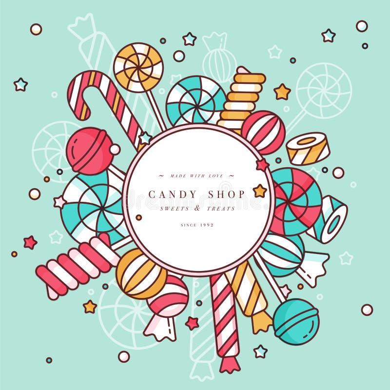 Le fond rond de cadre de boutique de sucrerie avec les lucettes linéaires avec arrose, spirale et vecteur coloré de bonbons à car illustration stock