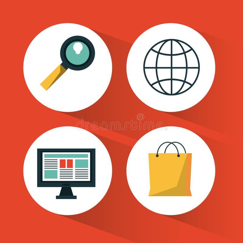 Le fond rouge avec des icônes a placé pour faire des emplettes en ligne illustration libre de droits