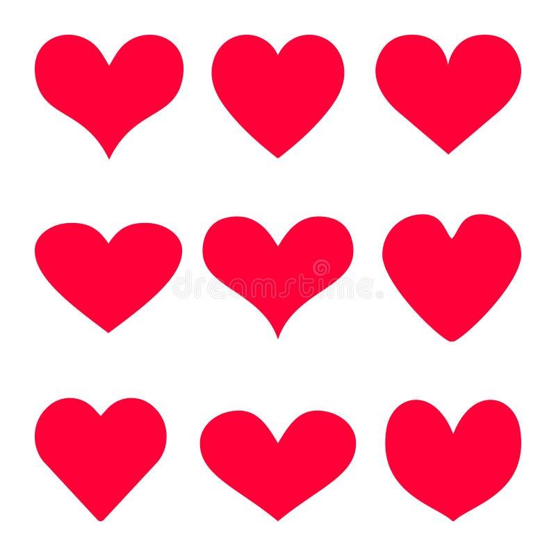 Le fond rouge d'icône de vecteur de coeur a placé pour le jour du ` s de Valentine, illustration médicale, symbole d'histoire d'a illustration de vecteur