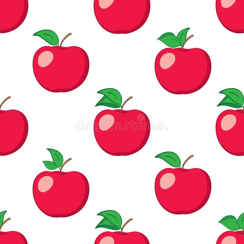 Le fond sans couture blanc avec les pommes rouges - dirigez le modèle illustration stock