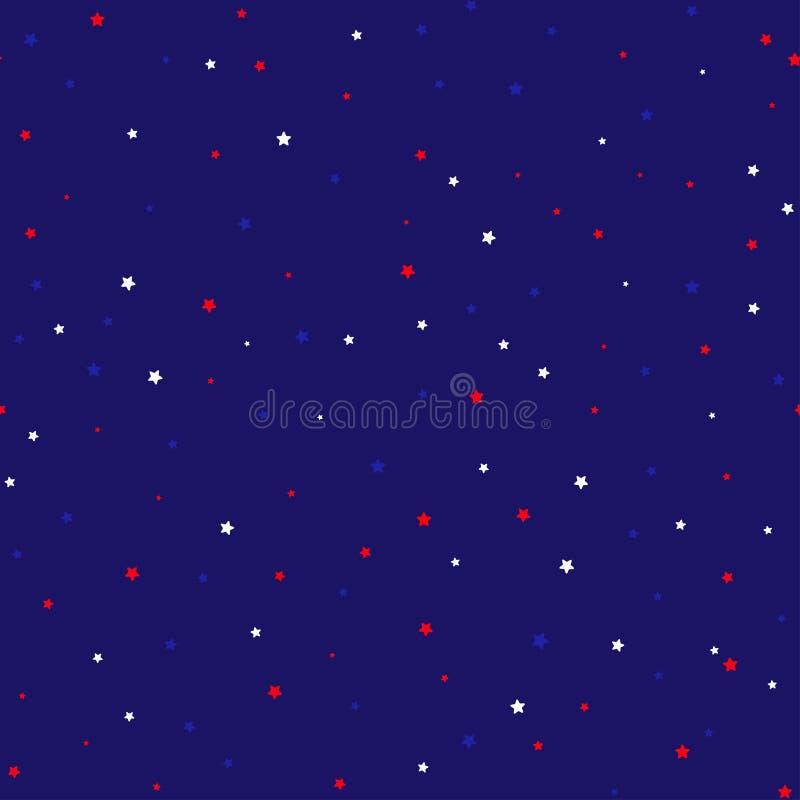 Le fond sans couture de fête dans le ressortissant colore le bleu blanc rouge des Etats-Unis Bandes et étoiles, grande idée de fe illustration de vecteur