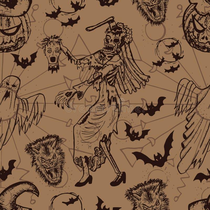 Le fond sans couture de Halloween avec le zombi, le fantôme et le potiron se dirigent illustration stock