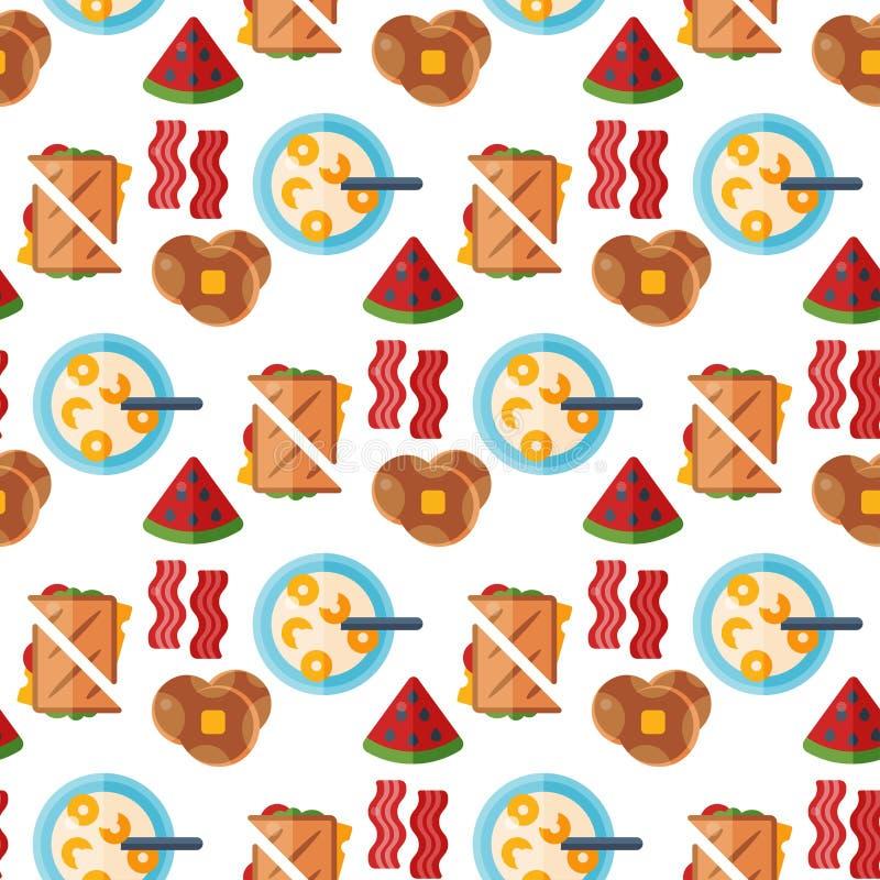 Le fond sans couture de modèle de nourriture de petit déjeuner d'icônes saines de repas boit le menu sain de viande de conception illustration libre de droits