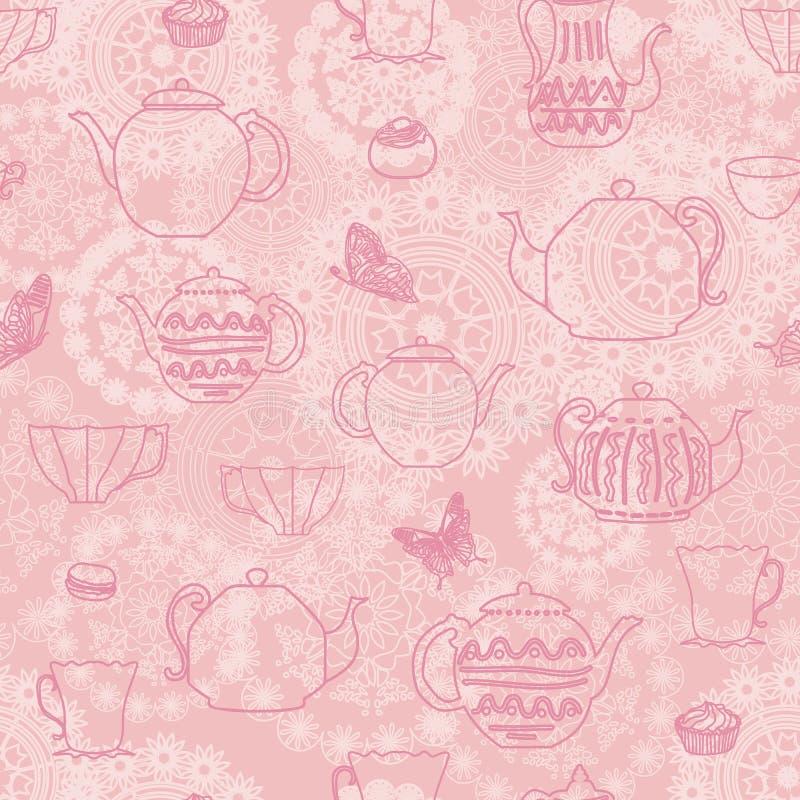 Le fond sans couture de modèle de vintage rose de vecteur avec les papillons de tasses de thé de théières durcit et le contexte d illustration libre de droits
