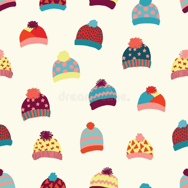Le fond sans couture de vecteur a tricoté des chapeaux de laine Les vêtements chauds d'hiver d'usure le dessin Accessoires confor illustration libre de droits