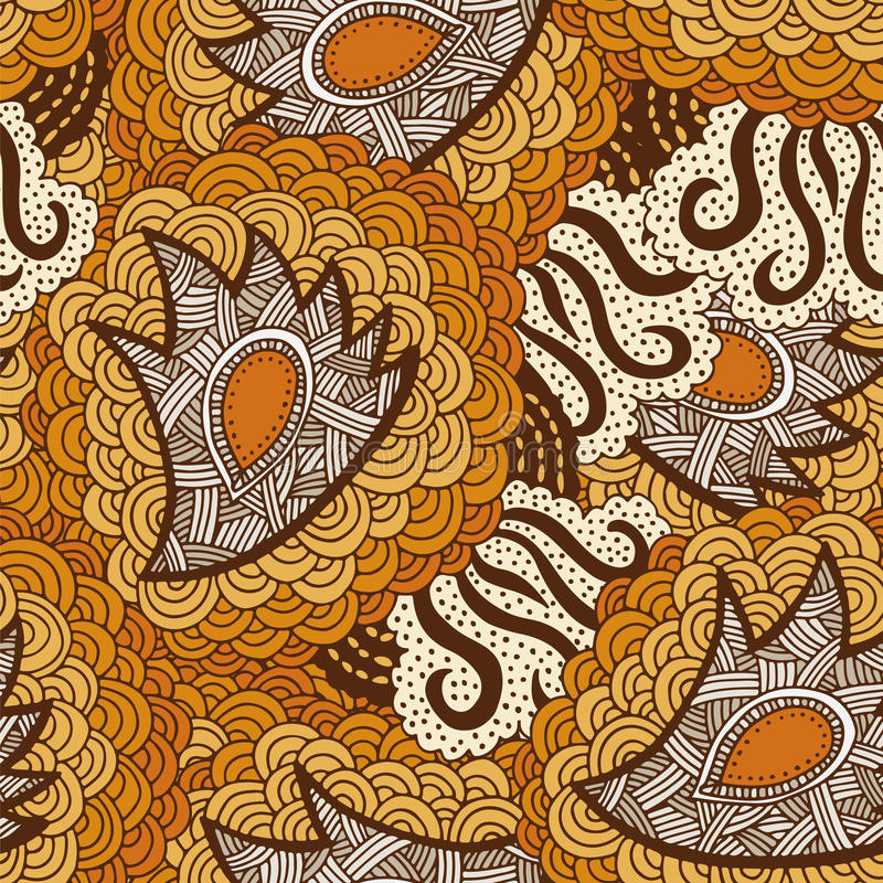 Le fond sans couture de vintage fleurit et les vagues gribouille illustration de vecteur