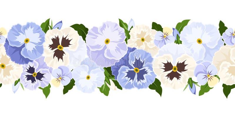 Le fond sans couture horizontal avec la pensée bleue et blanche fleurit Illustration de vecteur illustration de vecteur