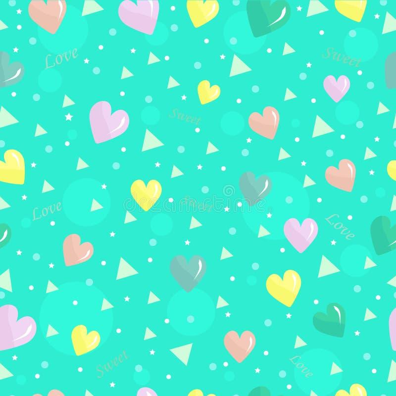 Le fond sans couture lumineux mignon avec des coeurs a coloré des triangles et des inscriptions illustration stock