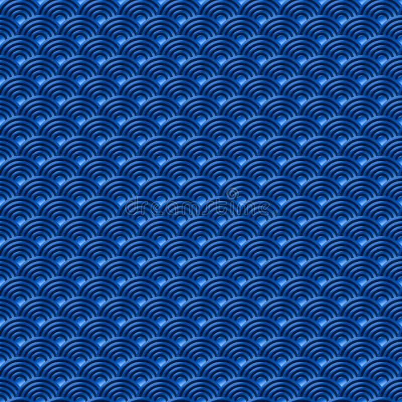 Le fond sans couture simple sans couture bleu chinois de nature de modèle d'échelles de poissons de dragon de modèle avec le Japo illustration libre de droits