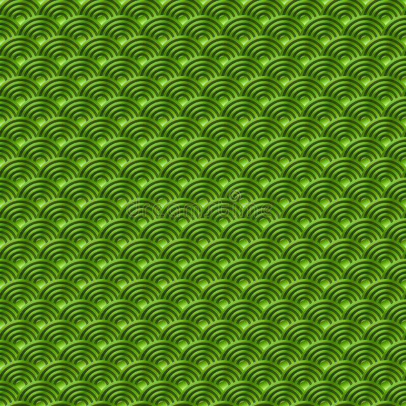 Le fond sans couture simple sans couture vert chinois de nature de modèle d'échelles de poissons de dragon de modèle avec le Japo illustration de vecteur