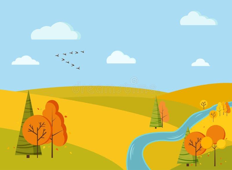 Le fond scénique de paysage de champ d'automne avec les arbres jaunes et oranges, sapins, champs, rivière, nuages, oiseaux tenden illustration stock