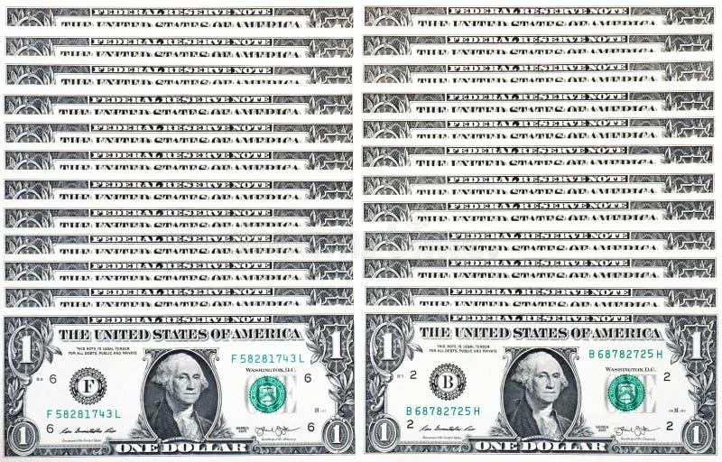 Le fond simple a composé des factures d'un-dollar, dollars américains images libres de droits