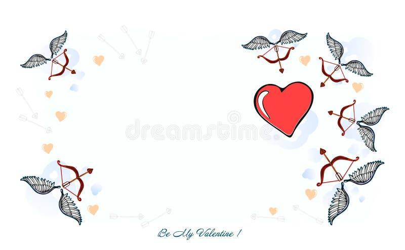 Le fond soit mon Valentine, carte de Valentine Une illustration de jour de valentines - je t'aime, une illustration originale de  illustration de vecteur
