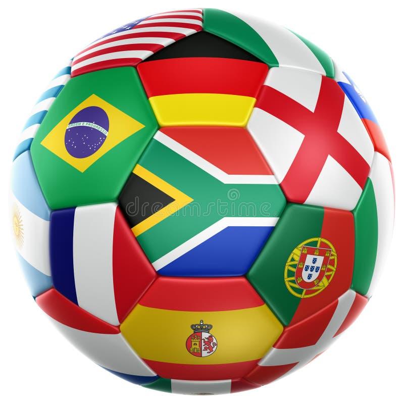 Le football avec des indicateurs de la coupe du monde 2010 illustration libre de droits