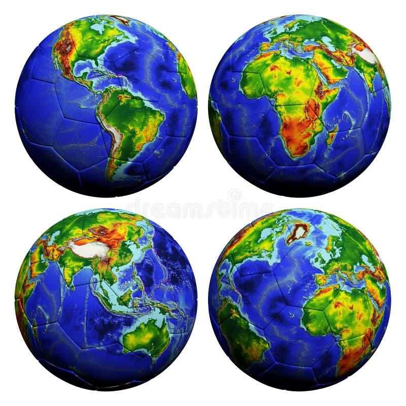 Le football avec la texture de globe illustration libre de droits