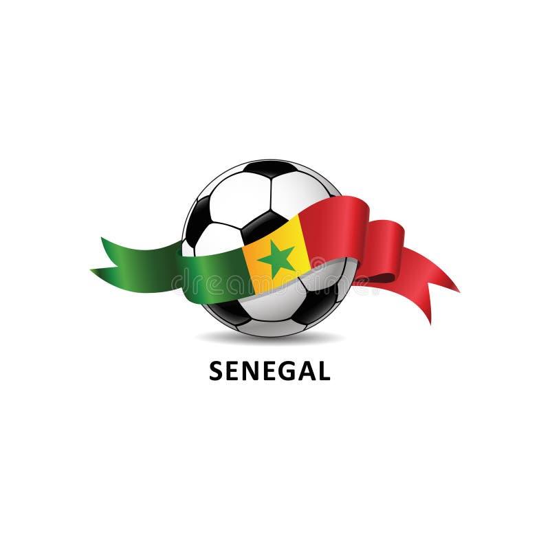 Le football avec la traînée colorée de drapeau national de rico du SÉNÉGAL illustration de vecteur