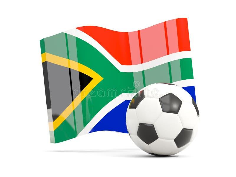 Le football avec le drapeau de ondulation de l'Afrique du Sud a isolé sur le blanc illustration stock
