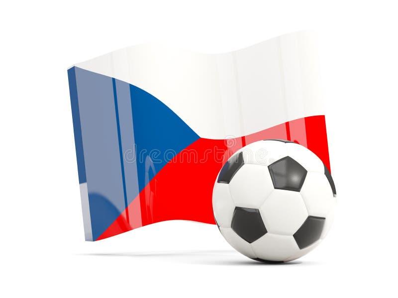 Le football avec le drapeau de ondulation de la République Tchèque d'isolement sur le blanc illustration libre de droits