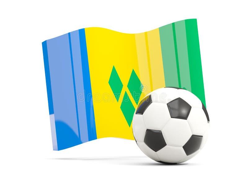 Le football avec le drapeau de ondulation du Saint-Vincent-et-les Grenadines illustration stock