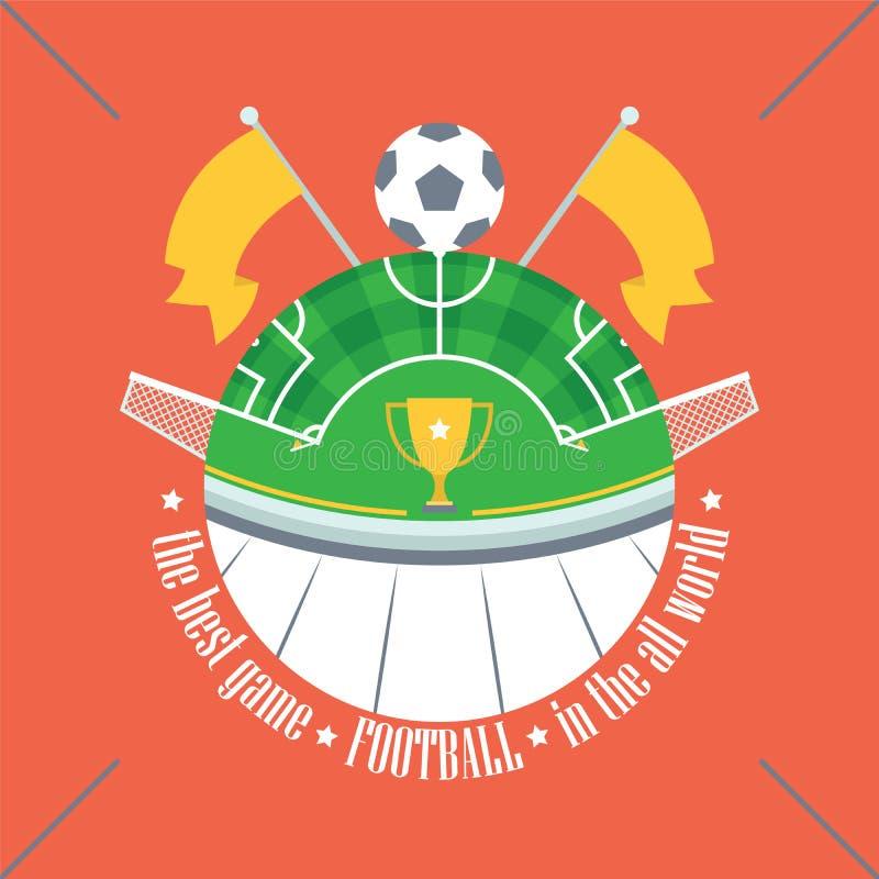 Le football/ballon de football sur le champ vert sous forme de globe illustration libre de droits