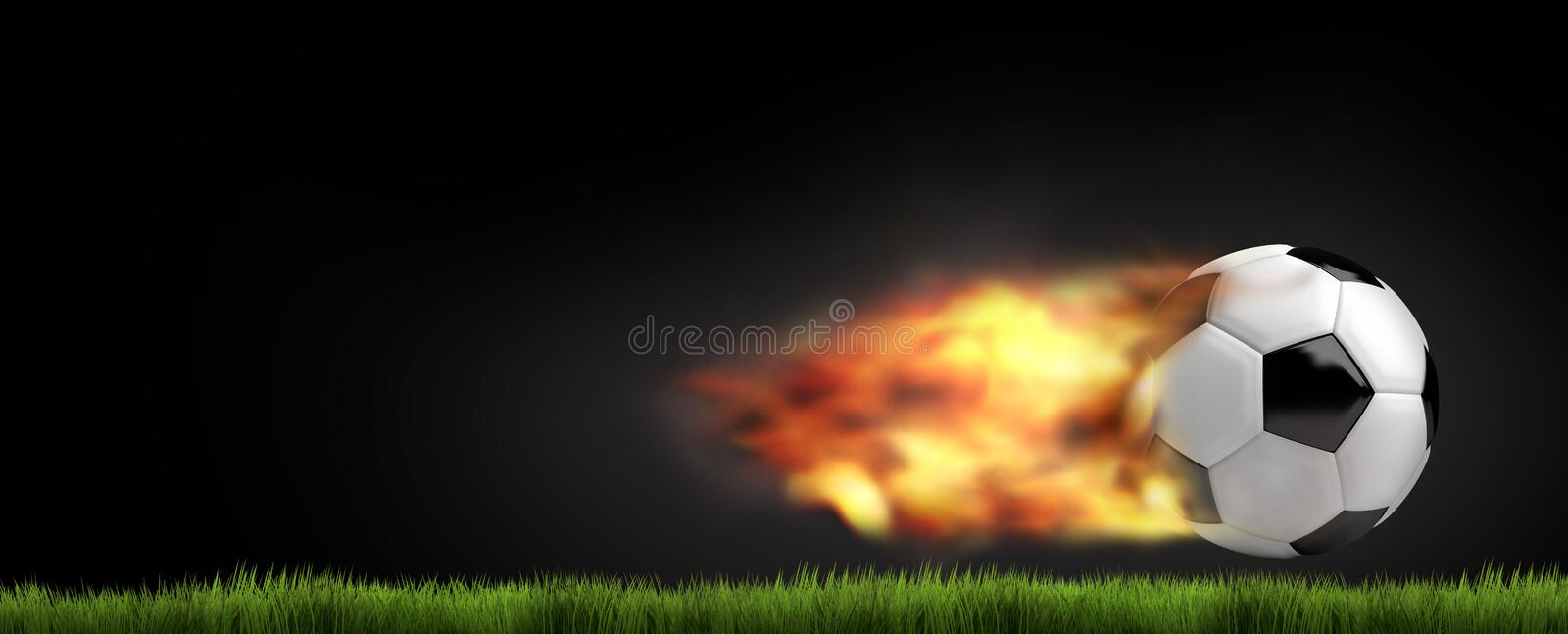 Le football 3d du football rendent la boule le football du feu de flammes illustration stock