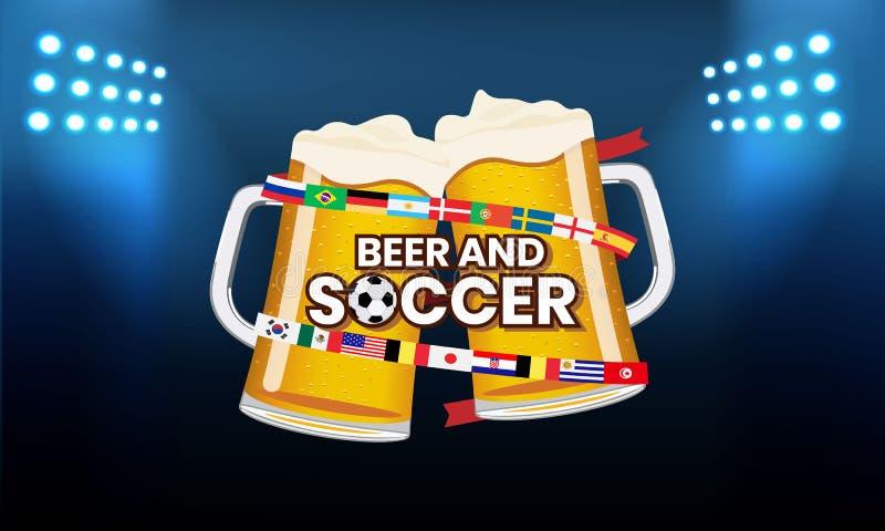 Le football de bière images libres de droits