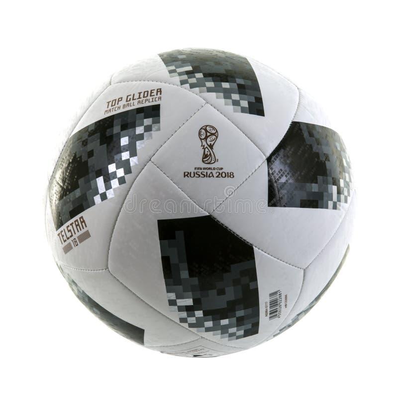 Le football 2018 de coupe du monde de planeur de dessus d'Adidas Telstar image libre de droits