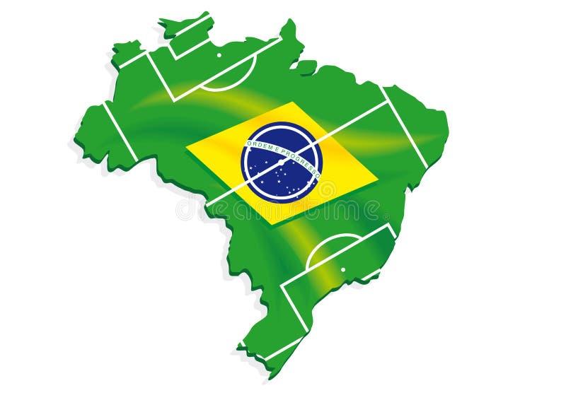 Le football de drapeau de carte du Brésil illustration stock