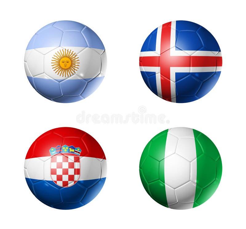 Le football de la Russie drapeaux de 2018 groupes D sur des ballons de football illustration stock