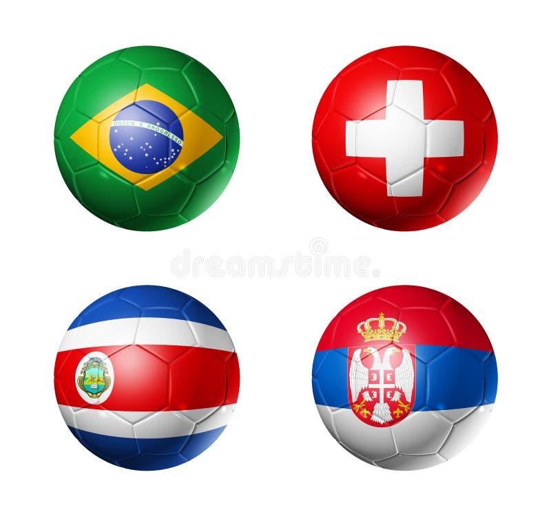 Le football de la Russie drapeaux de 2018 groupes E sur des ballons de football illustration libre de droits