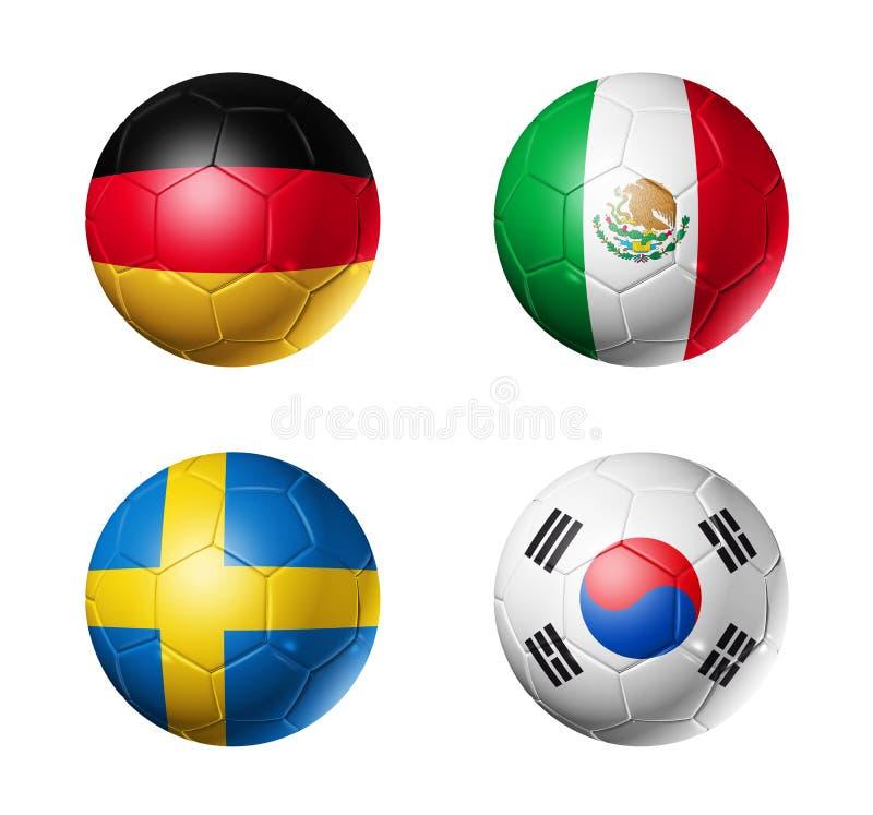 Le football de la Russie drapeaux de 2018 groupes F sur des ballons de football illustration de vecteur