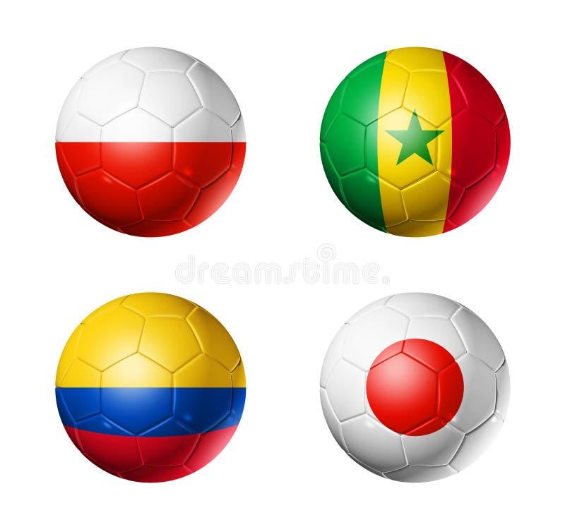 Le football de la Russie drapeaux de 2018 groupes H sur des ballons de football illustration libre de droits