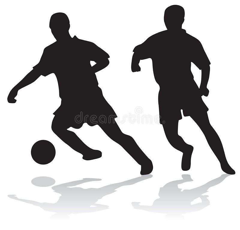 le football de silhouettes de joueurs illustration stock