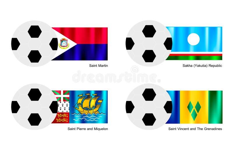 Le football de St Martin, Sakha, Saint Pierre et  illustration de vecteur