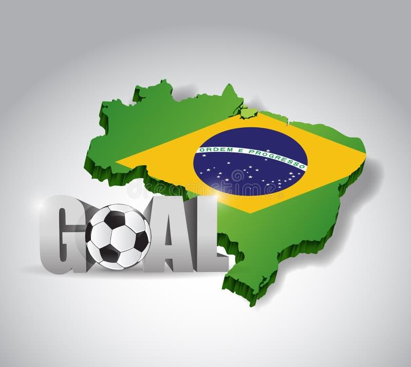 Le football du Brésil et signe des textes du but 3d. football illustration stock