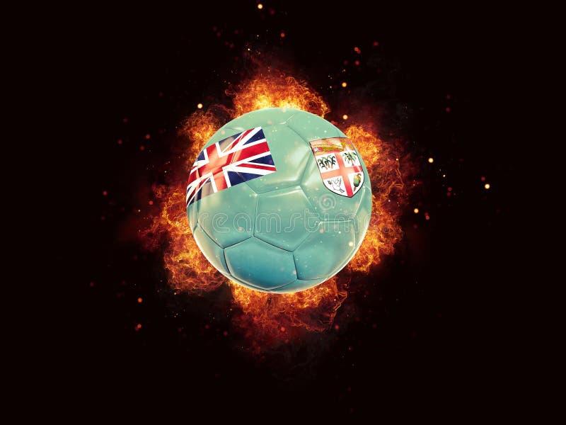 Le football en flammes avec le drapeau du Fiji illustration de vecteur