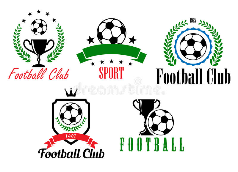 Le football et symboles ou emblèmes du football illustration stock